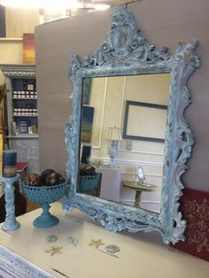Aged Patina finish with a mix of Chalk Paint® Florence, Provence, Pure White. Custom Painted by TLC Design Studio