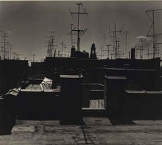 Ilse Bing Roof with antennas and church, New York, 1952 Gelatin silver print