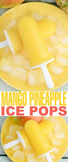 These super delicious and healthy Mango & Pineapple Ice Pops are made with only 3 ingredients! Your entire family will love these delicious tropical treats all summer long!