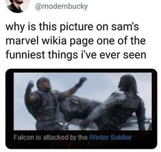 It looks so casual on Bucky's end, and then Sam is just so dramatic… - MARVEL Funny Marvel Memes, Dc Memes, Marvel Jokes, Avengers Memes, Marvel Actors, Marvel Avengers, Marvel Comics, Captain Marvel, The Mentalist