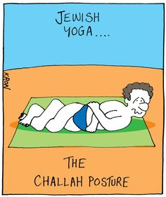 Challah yoga - great for Rosh Hashanah and for working off that delicious challah french toast!