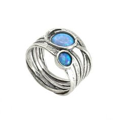Silver Ring with Opal - Big Stone Rings - Rings