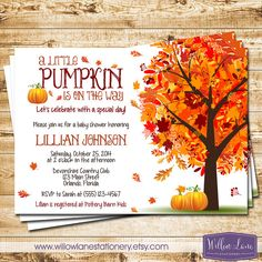 Little Pumpkin Baby Shower Invitation - Autumn Fall Baby Shower Invite - Fall Leaves Fall Tree - Luncheon Shower - 1363 - PRINTABLE