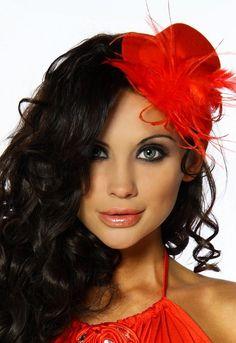 Burlesque Kostüm Karneval Fasching Mini-Hut Fascinator mit Federn A12340-1, Größe:onesize;Farbe:rot