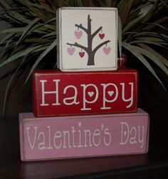 Valentine's Day Blocks Happy Valentine's Day Heart Love Tree Primitive Word Blocks Sign Distressed Stacking Shelf Blocks Home Decor Gift