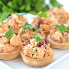 This ridiculously easy appetizer is a delicious twist on typical chicken salad. Serve in little pastry or lettuce cups for the perfect bite!