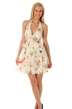 Tiered Chiffon Cute Spring Blooms Party Dress
