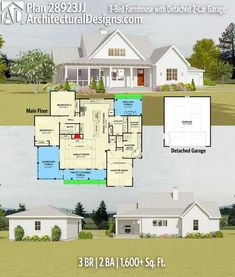 Architectural Designs House Plan 28923JJ gives you 3BR   2BA   1,600+SQ.FT.   Ready when you are. Where do YOU want to builidl? #28923jj #adhouseplans #architecturaldesigns #houseplan #architecture #newhome #newconstruction #newhouse #homedesign #dreamhome #dreamhouse #homeplan #architecture #architect #countryhouse #farmhouseplan #farmhome