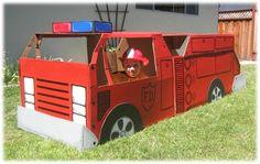 make a fire truck out of a cardboard box Cardboard Paper, Cardboard Crafts, Cardboard Boxes, 1st Birthday Boy Themes, 3rd Birthday, Birthday Ideas, Fire Truck Craft, Fireman Party, Firefighter Birthday