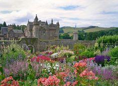 Abbotsford House, Scotland, with flowers aplenty