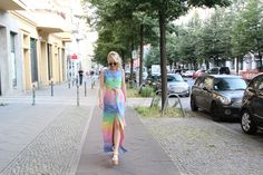 PLAKINGER Street with Kathrin Fricke of niewunschfrei.com wearing PLAKINGER Debut Collection super soft Rainbow Tweed Dress. byplakinger.com