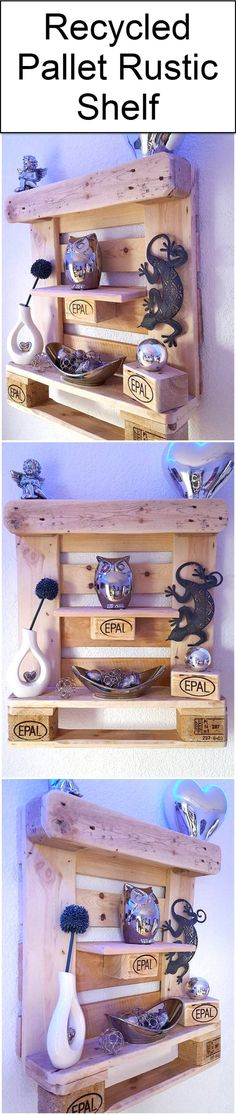 Recycled Pallet Rustic Shelf | Wood Pallet Furniture by Pallet Ideas