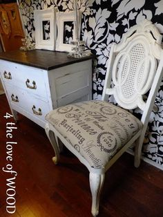 Painted chair with French typograhy fabric seat. $110
