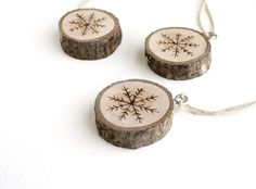 Snowflake Wood Burned Ornaments Set of 3 by TreeHollowDesigns