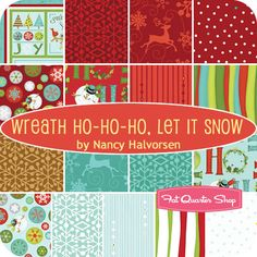 Wreath Ho-Ho-Ho, Let It Snow Fat Quarter Bundle Nancy Halvorsen for Benartex Fabrics