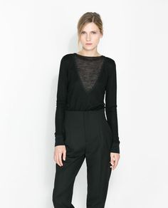ZARA - NEW THIS WEEK - T-SHIRT WITH TRANSPARENT DETAIL