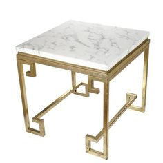 Greek Key Side Table White Marble Gold