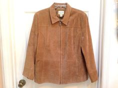 St. Johns Bay Tan Washable Suede Leather Jacket Women's XL Fitted Lined Zip-up #StJohnsBay #Jacket #Suede