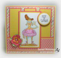 Ballerina Eunice (M1767) from Art Impressions Golden Oldies line.  Handmade thank you card for dance teacher.
