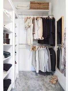 Ideas small closet design layout walk in dressing rooms Walk In Closet Small, Walk In Closet Design, Small Closets, Closet Designs, Tiny Closet, Dream Closets, Walking Closet, Small Closet Organization, Closet Shelves