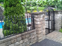 Wrought Iron Pool Gate Brick Fence, Concrete Fence, Front Yard Fence, Farm Fence, Pool Fence, Backyard Fences, Garden Fencing, Horse Fence, Fence Stain