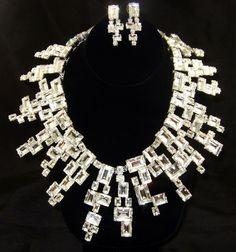 Rodrigo Otazu Clear Crystal Collar Necklace with Earrings | eBay