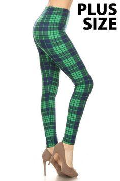 7066537766ead Leggings Depot Women's Ultra Buttery Soft Christmas Print Fashion Leggings  (Liberty Plaid, Plus / Size