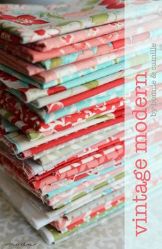 Vintage Modern by Bonnie & Camille: pretty red, teal, and green fabric bundles