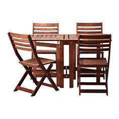 ÄPPLARÖ Ulkokalustesetti (pöytä/4taittotuo) IKEA 2 klaffiosan ansiosta pöydän kokoa on helppo muokata tarpeen mukaan.