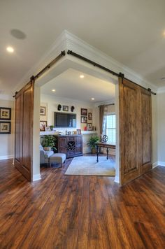 corner office or study area with double sliding barn doors, by Shumacher Homes. corner office or study area with double sliding barn doors, by Shumacher Homes. The barn house is. Style At Home, Deco Design, Design Case, Study Design, Decoration Design, Design Design, Design Elements, Double Sliding Barn Doors, Doors And Floors