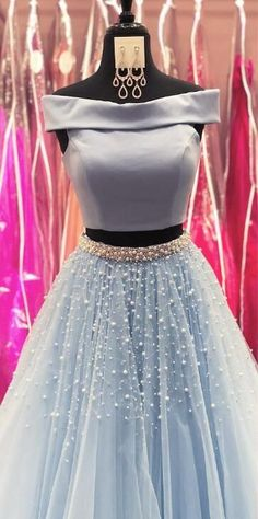 Princess two piece long prom dress, 2018 prom dress, off the shoulder prom dress, light sky blue prom Indian Gowns Dresses, Indian Fashion Dresses, Dress Indian Style, Indian Designer Outfits, Modest Fashion, Dress Fashion, Boho Fashion, Winter Fashion, Fashion Outfits