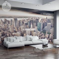 Aereal view of Manhattan Wall Mural, Cityscape Photo Mural, NYC night lights photo mural, NYC skyline at night wall décor