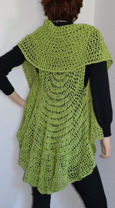Love this long, crocheted circular vest, especially the green!