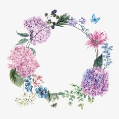 Watercolor Flowers, Vector, Mariposa, Blueberry PNG y Vector Watercolor Flower Vector, Wreath Watercolor, Watercolor Cards, Vector Flowers, Blueberry Flowers, Molduras Vintage, Corona Floral, Floral Border, Flower Backgrounds