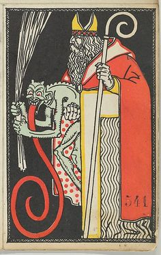 St. Nicholas and Krampus Card, 1911. The Metropolitan Museum of Art, New York. Museum Accession, transferred from the Library (WW.541). #krampus #christmas