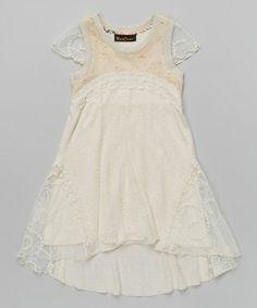 e78fb041a335 Hannah Banana Cream Lace Empire Waist Dress - Girls