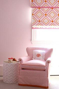 Roman Shade in Victoria Hagan Diamond Lights Pink/Orange