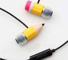 Pencil headphones. haha so cool it would look like you had a pencil in your head