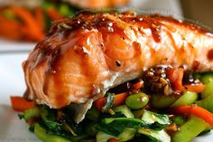Succulent, Soy-Sesame Glazed Salmon on a Bed of Sauteed Baby Bok Choy, Edamame and Carrots