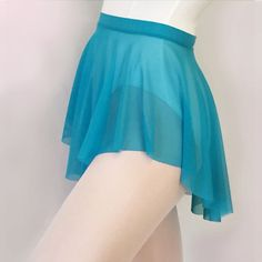 Sheer stretch Mesh Ballet Dance SAB Skirt - pretty peacock blue practice skirt - cerulean - cyan- turquoise