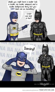 Adam West vs. Christian Bale... most awkward 60s Batman moment ever...