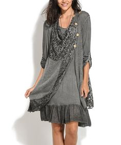 Another great find on #zulily! Anthracite Lace Mohair & Wool-Blend Shift Dress - Plus Too #zulilyfinds