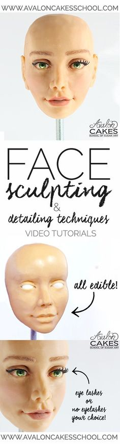 Video Tutorial: Face sculpting and detailing techniques. Shading, painting, eyelashes and eyebrows. Loaded with tips and tricks that you haven't seen anywhere else! Painting and shading on modeling ch (Chocolate Fondant Pictures) Cake Decorating Techniques, Cake Decorating Tutorials, Tips And Tricks, Fondant People, Biscuit, Sculpting Tutorials, Video Tutorials, Create A Cake, Sculpted Cakes