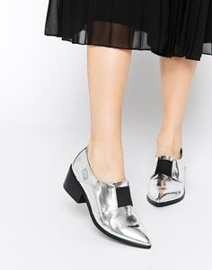 Image 1 ofASOS SOCIALLY Pointed Loafer Heels - $81
