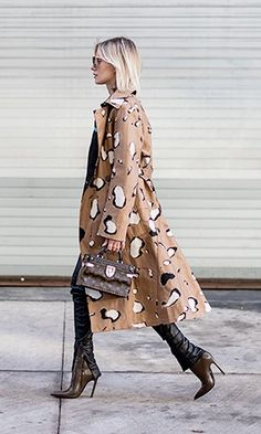 The 20 Best Trench Coats to Shop Right Now - Animal print trench coat street style - Late Winter / Early Spring Transition Piece
