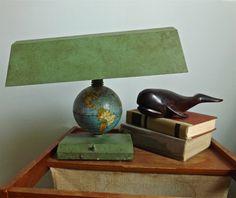 Vintage World Globe Desk Lamp. $25.00, via Etsy.
