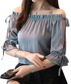 Stylish Tops, Trendy Tops, Stylish Dresses, Women's Fashion Dresses, Maxi Dresses, Blouse Styles, Blouse Designs, Mode Kpop, Sleeves Designs For Dresses