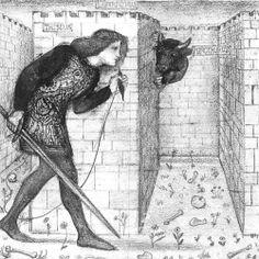 Theseus takes on the Minotaur in the Labyrinth of King Minos with string as a guide around the maze Walter Crane, Labyrinth Maze, Labyrinth Garden, Pre Raphaelite Brotherhood, Edward Burne Jones, Minoan, Mycenaean, Art Database, Greek Mythology