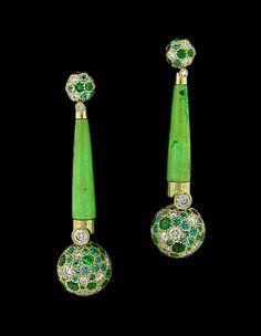 Nicholas Varney Diamond, Gaspeite, Paraiba & Tsavorite EarringsCayen Collection