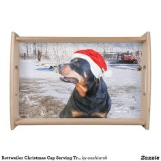 #Rottweiler #Christmas Cap #Serving #Tray